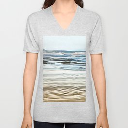 Abstract waves on the beach Unisex V-Neck
