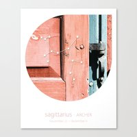 sagittarius Canvas Prints featuring Sagittarius by bialakura