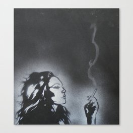 White On Black Canvas Print