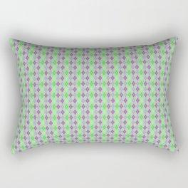 Argyle Diamond Shape Plaid Pattern Dark Purple, Light Purple, Green and Pastel Green Polka Dots Rectangular Pillow