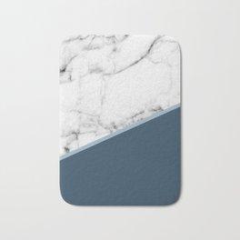 Real White Marble Half Ocean Sapphire Steel Blue Bath Mat