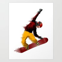 snowboarding Art Prints featuring Snowboarding by Boehm Graphics