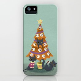 Meowy christmas sugar skulls iPhone Case