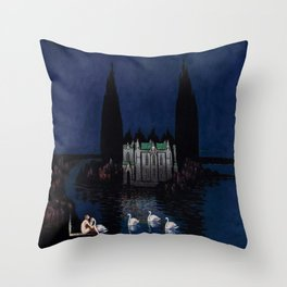 Château enchanté with woman & swans portrait by Bolesław Biegas Throw Pillow