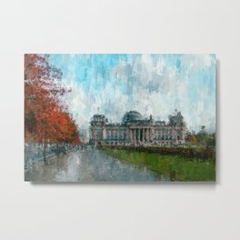 Reichstag, Berlin - abstract landmark drawing / painting /  impressionism style Illustration  / Metal Print