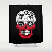 poland Shower Curtains featuring Sugar Skull with Roses and Flag of Poland by Jeff Bartels