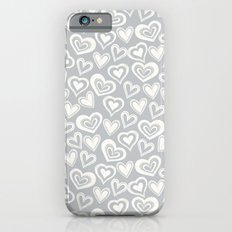 MESSY HEARTS: IVORY GRAY iPhone 6s Slim Case