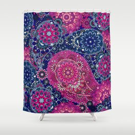 Paisley Patterns in Red Magenta and Blue Sky Shower Curtain