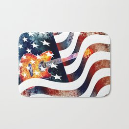 Country Music Guitar And American Flag By Annie Zeno  Bath Mat