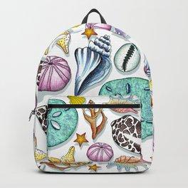 Illustrated Seashell Pattern Backpack