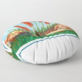Cute Garden Snails Floor Pillow