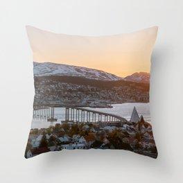 Sunset at Tromsø, Norway || Travel photography mountain architecture lapland winter scandinavia  Throw Pillow