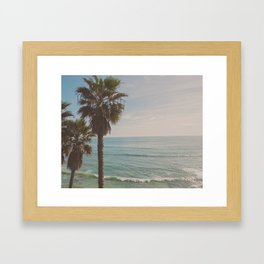 palm tree and ocean. California Vacation Framed Art Print