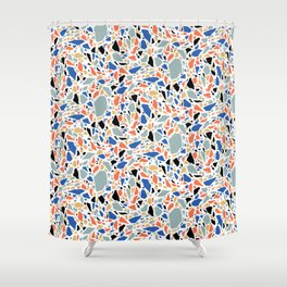 Terrazzo pattern in blue and salmon Shower Curtain