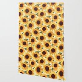 Happy Yellow Sunflowers Wallpaper