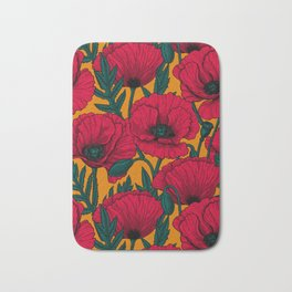 Red poppy garden    Bath Mat