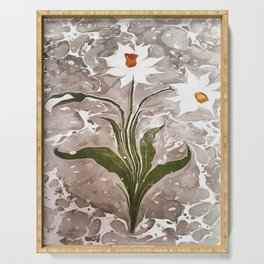 Narcissus On Marble Serving Tray