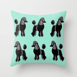 Black Standard Poodles with Mint Throw Pillow