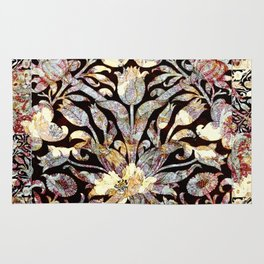 Morris Tulips Burgundy and Silver Sparkle Pattern Rug