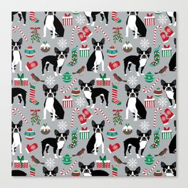 Boston Terrier christmas holiday pattern design dog breed gifts pet friendly home decor Canvas Print