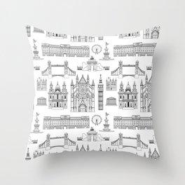 London Places Pattern b/w Throw Pillow