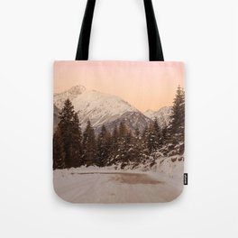 Snow Sunset in Mestia, Georgia Tote Bag