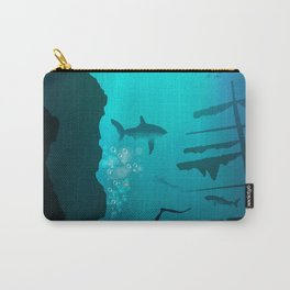 Beautiful coral reef and silhouettes of diver and school of fish in a blue sea Carry-All Pouch