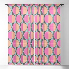 60s abstract pattern Sheer Curtain