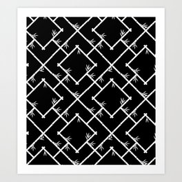 Bamboo Chinoiserie Lattice in Black + White Art Print