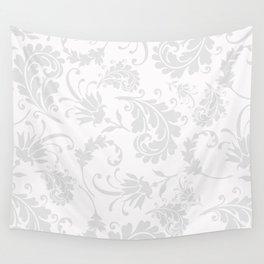 Vintage of white elegant floral damask pattern Wall Tapestry