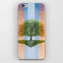 Digital painting of the seasons of the year in a tree iPhone Skin