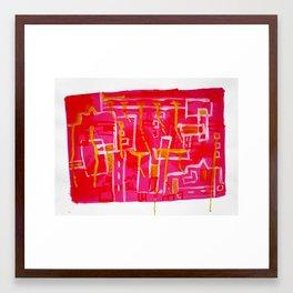 Raining in the city Framed Art Print
