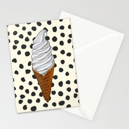 Vanilla Ice Cream Cone With Black Polka Dots - Neapolitan Collection Stationery Cards