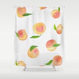 Fun Watercolor Peaches Shower Curtain