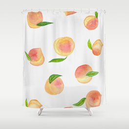 Fun Watercolor Peaches Shower Curtain