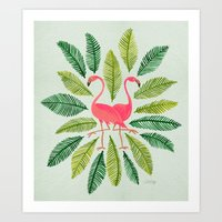 flamingos Art Prints featuring Flamingos by Cat Coquillette