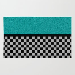 Checkered/Textured Cyan Rug