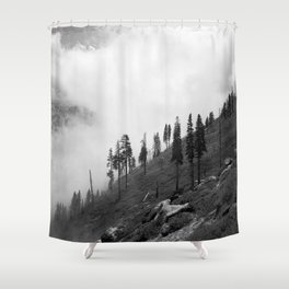 Mountains, Valleys and Forests. Yosemite National Park, Black and White Photography, Clouds and Fog Shower Curtain