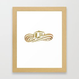 Colombian Sombrero Vueltiao in Gold Leaf Style Framed Art Print