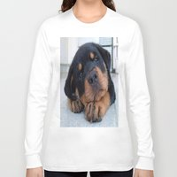 rottweiler Long Sleeve T-shirts featuring Riley  🐾  The Rottweiler Puppy  🐾 by D.A.S.E. 3