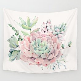 Perfect Pink Succulent Wall Tapestry