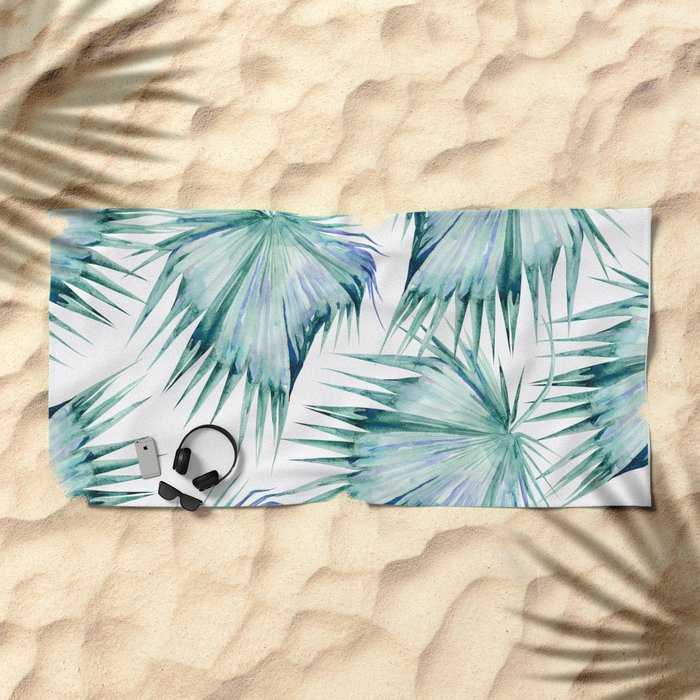 Floating Palm Leaves Beach Towel