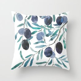 black olive watercolor 2018 Throw Pillow