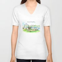 boats V-neck T-shirts featuring Swan Boats by Sue Anderson Gioulis