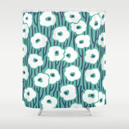 Mid Century Modern Wild Flowers 672 Turquoise and Blue Shower Curtain