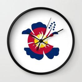 Colorado Hibiscus Flag Wall Clock