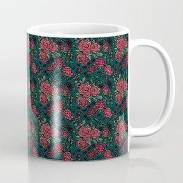 Project 413 | Cottage Rose on Dark Teal Green Coffee Mug