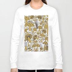 Mushroom Drawing in Ochre Long Sleeve T-shirt