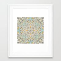 bedding Framed Art Prints featuring Gypsy Floral in Soft Neutrals, Grey & Yellow on Sage by micklyn