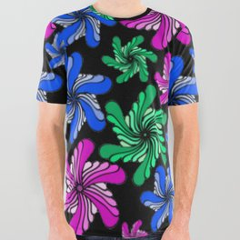 PinWheels on Black All Over Graphic Tee